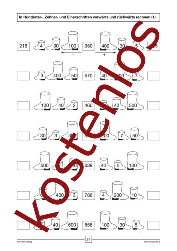 Vorschaugrafik 1 für das kostenlose Arbeitsblatt In Hunderter-, Zehner- und Einerschritten vorwärts und rückwärts rechnen (1) von Lehrermaterial.de.