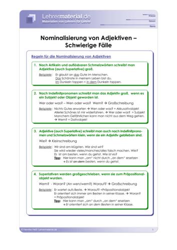 Vorschaugrafik 1 für das  Arbeitsblatt Nominalisierung von Adjektiven - Schwierige Fälle von Lehrermaterial.de.