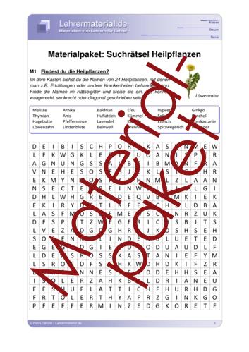 Vorschaugrafik 1 für das  Arbeitsblatt Materialpaket: Suchrätsel Heilpflanzen von Lehrermaterial.de.