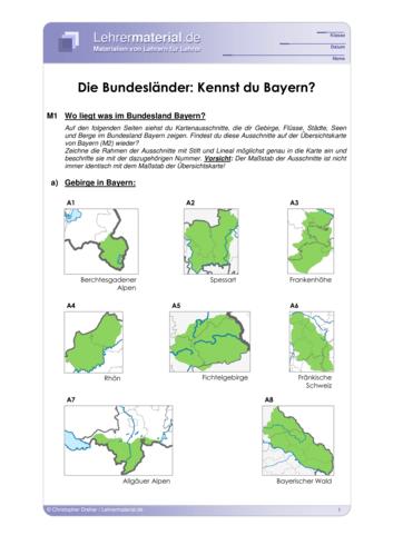 Vorschaugrafik 1 für das  Arbeitsblatt Die Bundesländer: Kennst du Bayern? von Lehrermaterial.de.