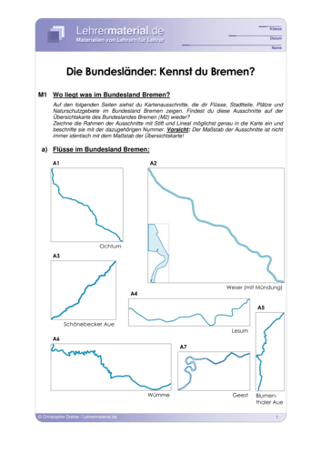 Vorschaugrafik 1 für das  Arbeitsblatt Die Bundesländer: Kennst du Bremen? von Lehrermaterial.de.