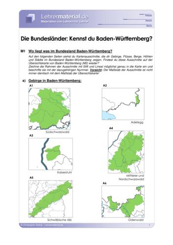 Vorschaugrafik 1 für das  Arbeitsblatt Die Bundesländer: Kennst du Baden-Württemberg? von Lehrermaterial.de.