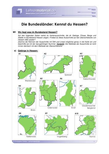 Vorschaugrafik 1 für das  Arbeitsblatt Die Bundesländer: Kennst du Hessen? von Lehrermaterial.de.