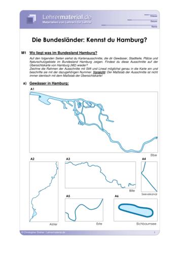 Vorschaugrafik 1 für das  Arbeitsblatt Die Bundesländer: Kennst du Hamburg? von Lehrermaterial.de.