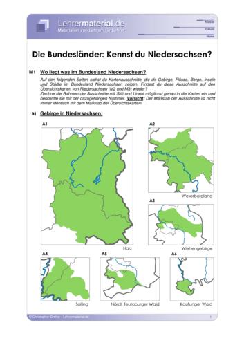 Vorschaugrafik 1 für das  Arbeitsblatt Die Bundesländer: Kennst du Niedersachsen? von Lehrermaterial.de.