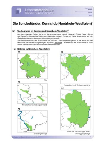Vorschaugrafik 1 für das  Arbeitsblatt Die Bundesländer: Kennst du Nordrhein-Westfalen? von Lehrermaterial.de.
