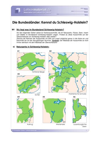 Vorschaugrafik 1 für das  Arbeitsblatt Die Bundesländer: Kennst du Schleswig-Holstein? von Lehrermaterial.de.