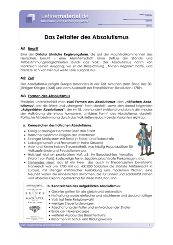 Vorschaugrafik 1 für das  Arbeitsblatt Das Zeitalter des Absolutismus von Lehrermaterial.de.