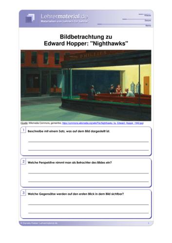 Vorschaugrafik für das  Arbeitsblatt Bildbetrachtung zu Edward Hopper: Nighthawks von Lehrermaterial.de
