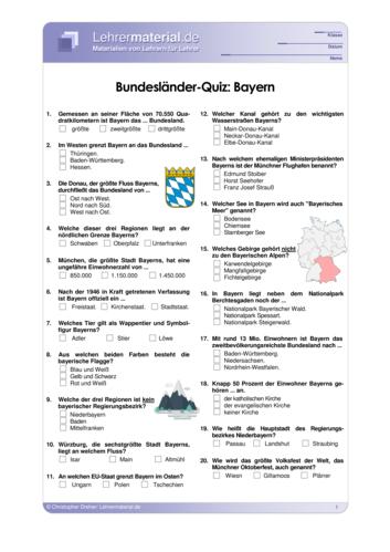 Vorschaugrafik 1 für das  Arbeitsblatt Bundesländer-Quiz: Bayern von Lehrermaterial.de.