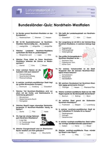 Vorschaugrafik 1 für das  Arbeitsblatt Bundesländer-Quiz: Nordrhein-Westfalen von Lehrermaterial.de.