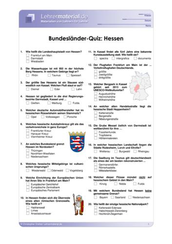 Vorschaugrafik 1 für das  Arbeitsblatt Bundesländer-Quiz: Hessen von Lehrermaterial.de.