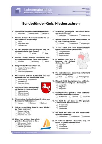 Vorschaugrafik 1 für das  Arbeitsblatt Bundesländer-Quiz: Niedersachsen von Lehrermaterial.de.