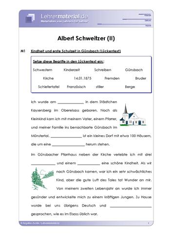 Vorschaugrafik 1 für das  Arbeitsblatt Albert Schweitzer (II) von Lehrermaterial.de.