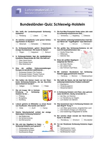 Vorschaugrafik 1 für das  Arbeitsblatt Bundesländer-Quiz: Schleswig-Holstein von Lehrermaterial.de.