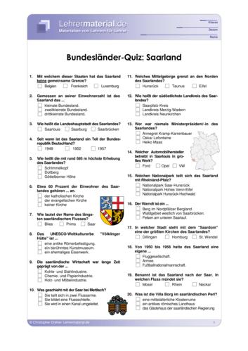 Vorschaugrafik 1 für das  Arbeitsblatt Bundesländer-Quiz: Saarland von Lehrermaterial.de.