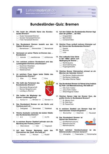 Vorschaugrafik 1 für das  Arbeitsblatt Bundesländer-Quiz: Bremen von Lehrermaterial.de.