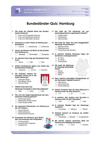 Vorschaugrafik 1 für das  Arbeitsblatt Bundesländer-Quiz: Hamburg von Lehrermaterial.de.