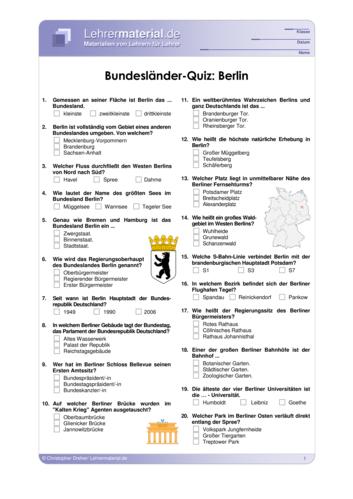Vorschaugrafik 1 für das  Arbeitsblatt Bundesländer-Quiz: Berlin von Lehrermaterial.de.