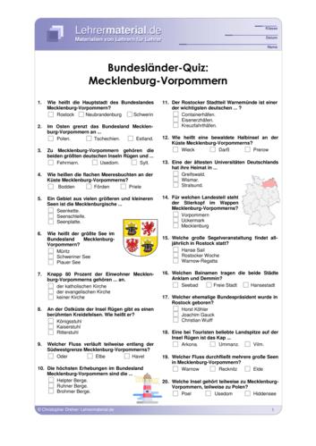 Vorschaugrafik 1 für das  Arbeitsblatt Bundesländer-Quiz: Mecklenburg-Vorpommern von Lehrermaterial.de.