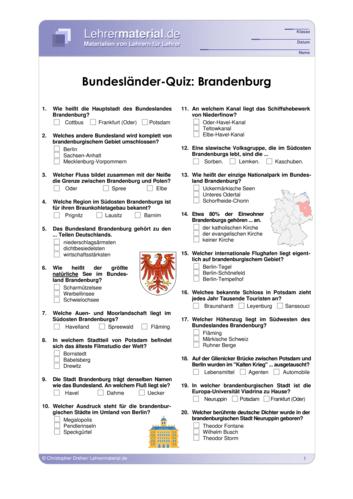 Vorschaugrafik 1 für das  Arbeitsblatt Bundesländer-Quiz: Brandenburg von Lehrermaterial.de.