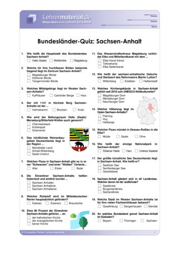 Vorschaugrafik 1 für das  Arbeitsblatt Bundesländer-Quiz: Sachsen-Anhalt von Lehrermaterial.de.