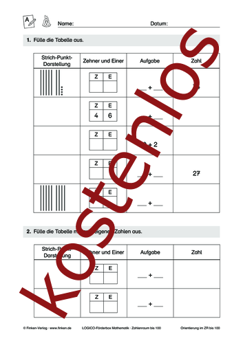 Vorschaugrafik 1 für das kostenlose Arbeitsblatt LOGICO-Box: Zahlenraum bis 100 (I) von Lehrermaterial.de.