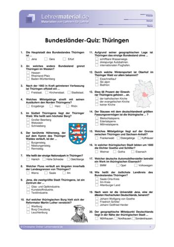 Vorschaugrafik 1 für das  Arbeitsblatt Bundesländer-Quiz: Thüringen von Lehrermaterial.de.