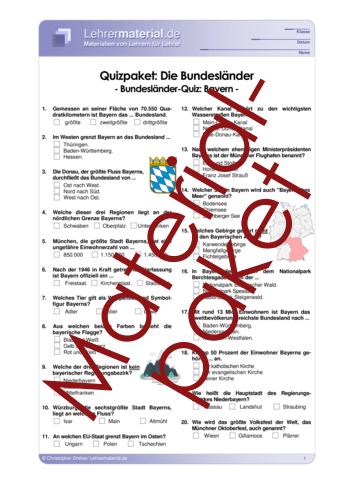 Vorschaugrafik für das  Arbeitsblatt Quizpaket: Die Bundesländer von Lehrermaterial.de