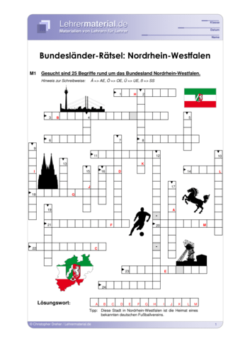 Vorschaugrafik 1 für das  Arbeitsblatt Bundesländer-Rätsel: Nordrhein-Westfalen von Lehrermaterial.de.