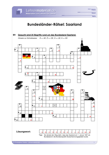 Vorschaugrafik 1 für das  Arbeitsblatt Bundesländer-Rätsel: Saarland von Lehrermaterial.de.