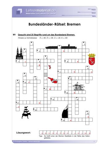 Vorschaugrafik 1 für das  Arbeitsblatt Bundesländer-Rätsel: Bremen von Lehrermaterial.de.