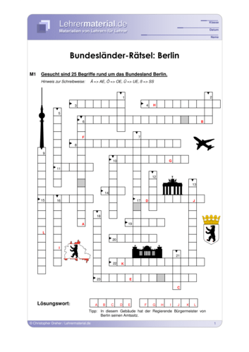 Vorschaugrafik 1 für das  Arbeitsblatt Bundesländer-Rätsel: Berlin von Lehrermaterial.de.