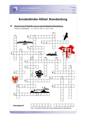 Vorschaugrafik 1 für das  Arbeitsblatt Bundesländer-Rätsel: Brandenburg von Lehrermaterial.de.