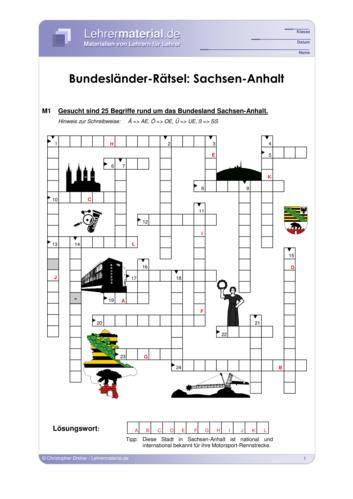 Arbeitsblatt Bundeslander Ratsel Sachsen Anhalt Lehrermaterial De