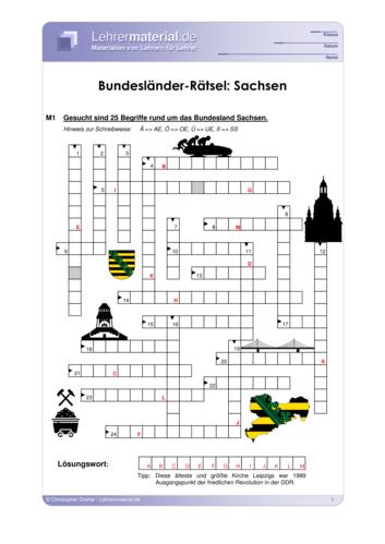 Vorschaugrafik 1 für das  Arbeitsblatt Bundesländer-Rätsel: Sachsen von Lehrermaterial.de.