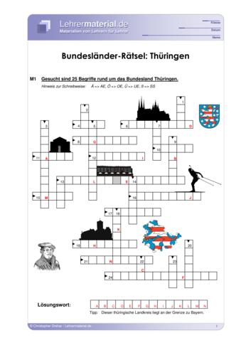 Vorschaugrafik 1 für das  Arbeitsblatt Bundesländer-Rätsel: Thüringen von Lehrermaterial.de.