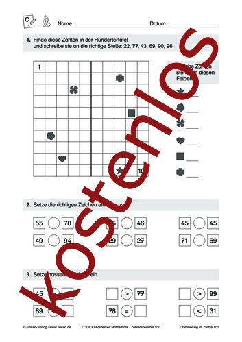 Vorschaugrafik 1 für das kostenlose Arbeitsblatt LOGICO-Box: Zahlenraum bis 100 (III) von Lehrermaterial.de.