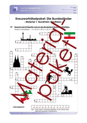 Vorschaugrafik 1 für das  Arbeitsblatt Kreuzworträtselpaket: Die Bundesländer von Lehrermaterial.de.