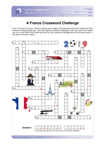 Vorschaugrafik 1 für das  Arbeitsblatt A France Crossword Challenge von Lehrermaterial.de.