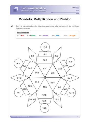 Vorschaugrafik 1 für das  Arbeitsblatt Mandala: Multiplikation und Division von Lehrermaterial.de.