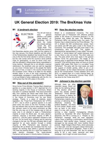 Vorschaugrafik für das  Arbeitsblatt UK General Election 2019: The BreXmas Vote von Lehrermaterial.de