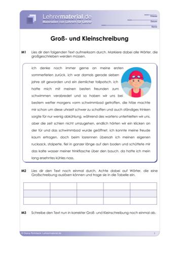 Vorschaugrafik 1 für das  Arbeitsblatt Groß- und Kleinschreibung von Lehrermaterial.de.