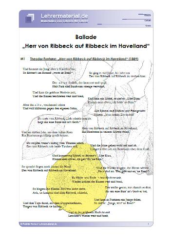 Vorschaugrafik 1 für das  Arbeitsblatt Ballade: Herr von Ribbeck auf Ribbeck im Havelland von Lehrermaterial.de.