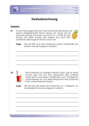 Vorschaugrafik für das  Arbeitsblatt Zweisatzrechnung von Lehrermaterial.de