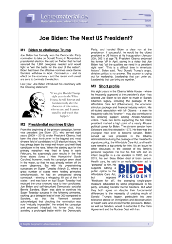 Detailseite für das  Arbeitsblatt Joe Biden: The Next US President? öffnen