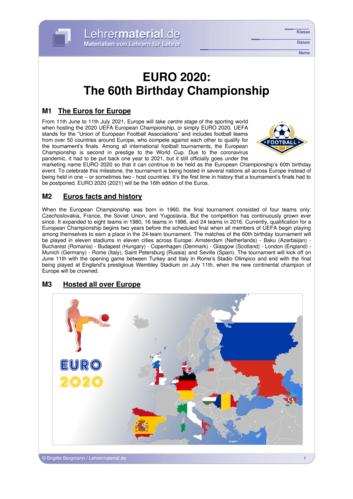 Vorschaugrafik für das  Arbeitsblatt EURO 2020: The 60th Birthday Championship  von Lehrermaterial.de