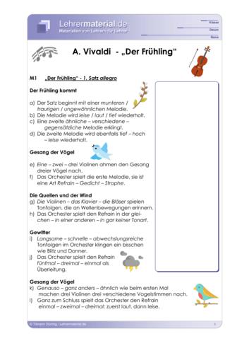 Vorschaugrafik für das  Arbeitsblatt A. Vivaldi - Der Frühling von Lehrermaterial.de