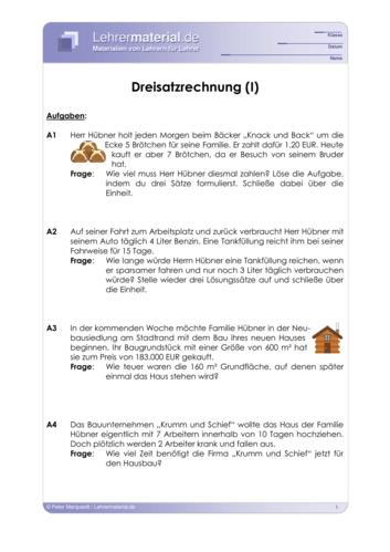 Vorschaugrafik 1 für das  Arbeitsblatt Dreisatzrechnung (I) von Lehrermaterial.de.