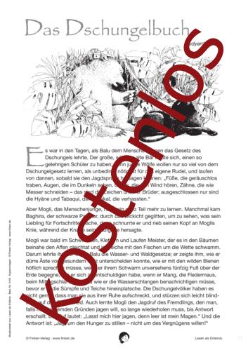Vorschaugrafik 1 für das kostenlose Arbeitsblatt Lesen als Erlebnis: Das Dschungelbuch von Lehrermaterial.de.